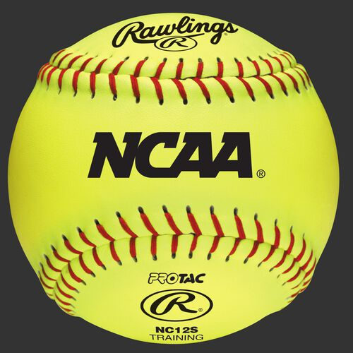 "A yellow NC12S NCAA 12"" soft training softball with red stitching"