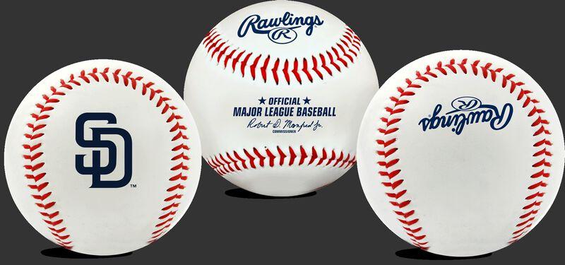3 views of a MLB San Diego Padres baseball
