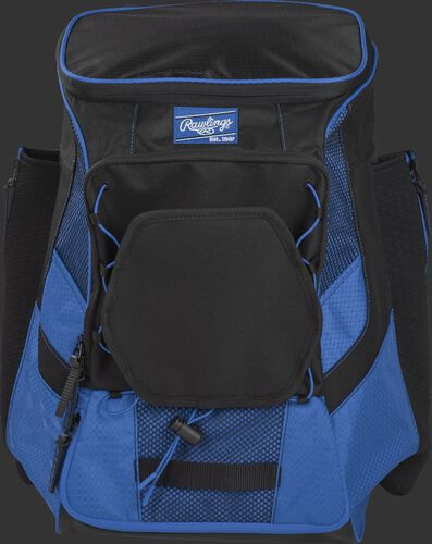 Front of a royal/black R600 Players team backpack