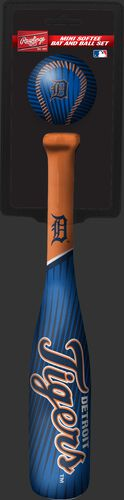 Rawlings Detroit Tigers Softee Mini Bat and Ball Set in Team Colors With Team Name and Logo On Front SKU #01160027114