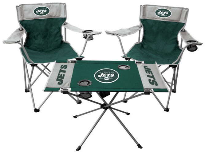 Front of Rawlings Green and White NFL New York Jets 3-Piece Tailgate Kit With Two Kickoff Chairs, An Endzone Table, And A Transport Bag With Team Logo SKU #01041079511