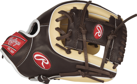 Thumb view of a PROS315-2CMO 11.75-inch Rawlings Pro Preferred infield glove with a mocha I web