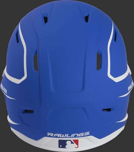 Back of a royal/white MACH high performance senior helmet with the Official Batting Helmet of MLB logo