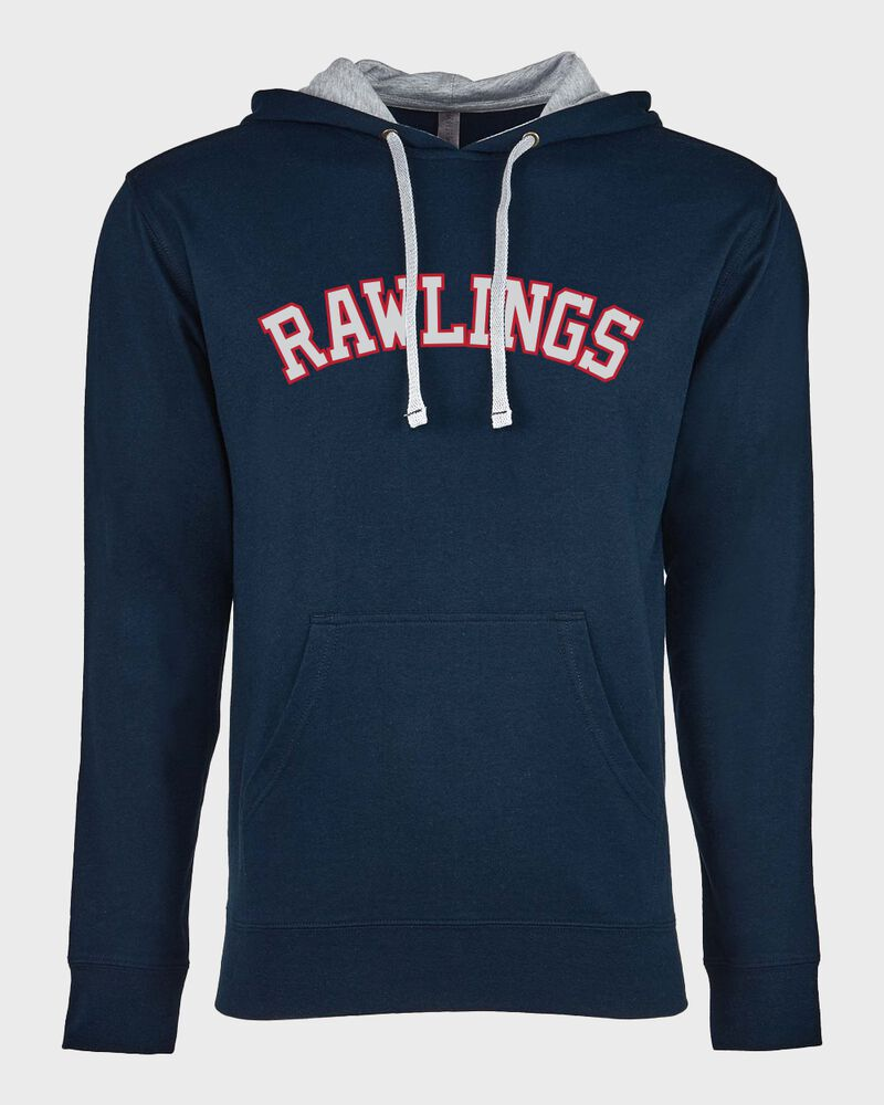 A navy Rawlings mid-weight French Terry hoodie with a gray hood and red lettering on the chest - SKU: RSGFH-N