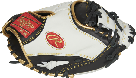 ECCM32-23BW Rawlings Encore catcher's mitt with a white thumb, black trim and 1-Piece Solid web with extended web base design