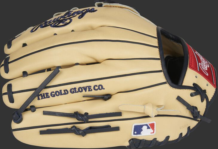 Back of a Rawlings G57 Christian Yelich HOH glove with the MLB logo on the pinky - SKU: RSGPRO3039-CY22