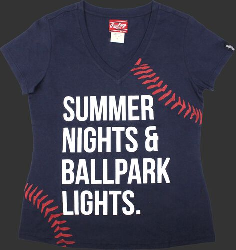 Front of Rawlings Women's Summer Nights & Ballpark Lights T-Shirt - SKU #RA30001-400