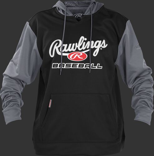 Front of Rawlings Black/Gray Adult long Sleeve Hoodie - SKU #PFHPRBB-GR-88
