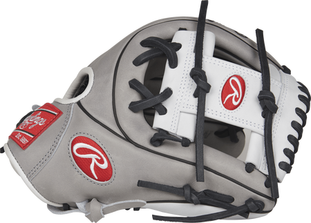 Thumb view of a grey PRO715SB-2GW Heart of the Hide 11.75-inch fastpitch infield glove with a white I web