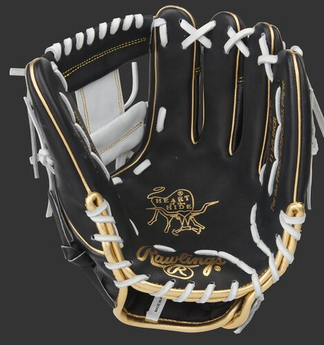 Black palm of a Rawlings Heart of the Hide I-web glove with white laces - SKU: PRO204-2BCW