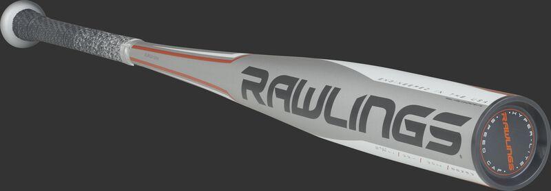 BBZ53 Rawlings high school/college alloy baseball bat with a grey barrel and black/orange accents