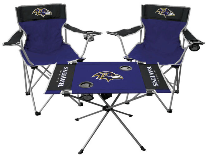 Front of Rawlings Purple NFL Baltimore Ravens 3-Piece Tailgate Kit With Two Kickoff Chairs, An Endzone Table, And A Transport Bag With Team Logo SKU #01041092511