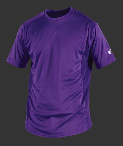 Front of Rawlings Adult Purple Short Sleeve Shirt - SKU #SSBASE