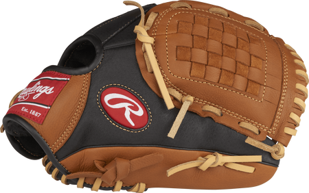 Thumb view of a black P110GBB Prodigy 11-inch youth infield glove with golden brown trim and Basket web