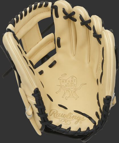 Palm of a camel Rawlings HOH I-web infield glove with a camel web and black laces - SKU: PRONP4-2CB
