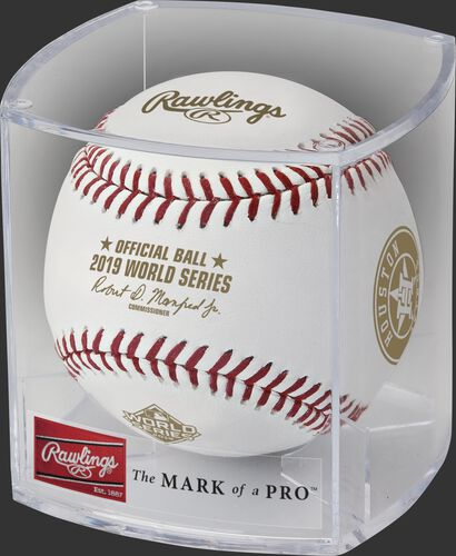WSBB19DL 2019 World Series teams dueling baseball in a clear display cube
