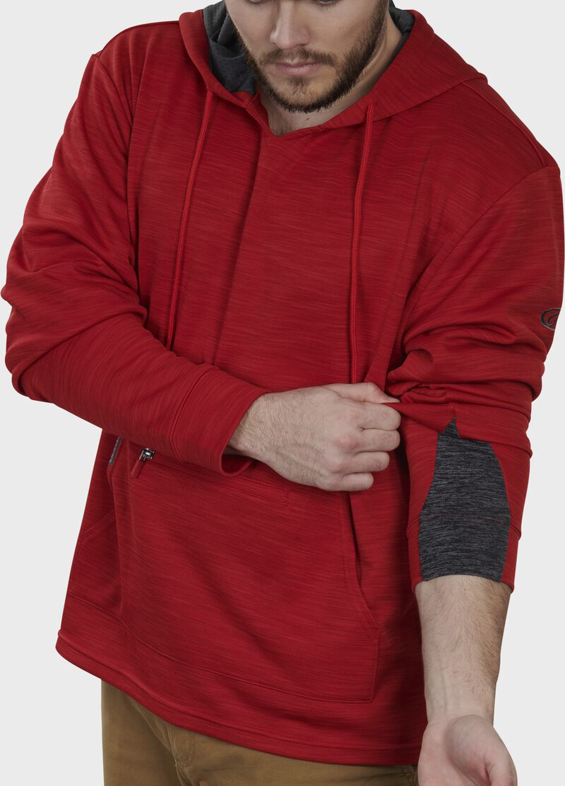 Expandable sleeve gusset of a scarlet PFH2 fleece hoodie