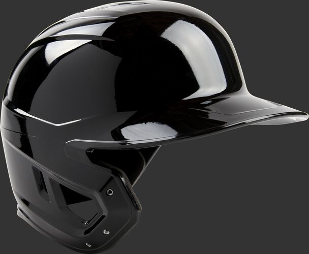 Front angle of a black Mach single ear left handed batting helmet - SKU: MES01A-LHB