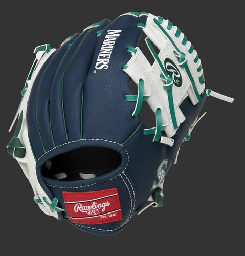 Back of a navy/white Seattle Mariners 10-inch I-web glove with a red Rawlings patch - SKU: 22000015111