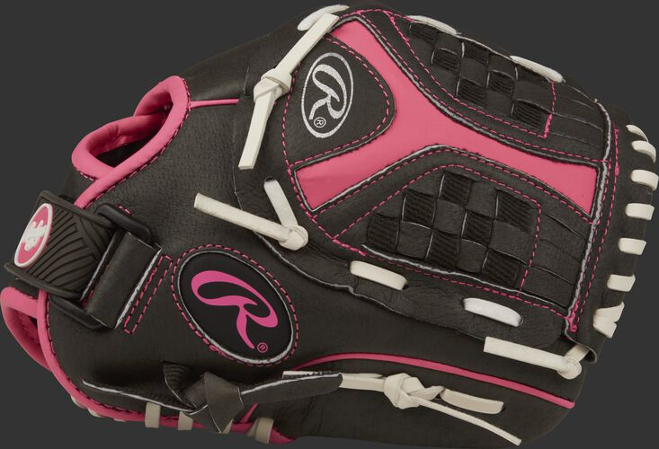 Thumb view of a black ST1050FPP Storm 10.5-inch infield glove with a black/pink Funnel web
