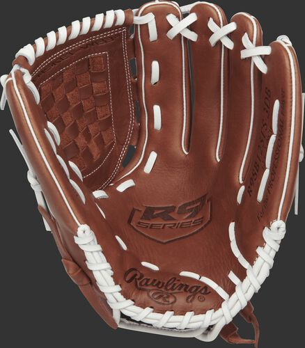 R9SB125FS-3DB Rawlings 12.5-inch softball glove with a brown palm and white laces