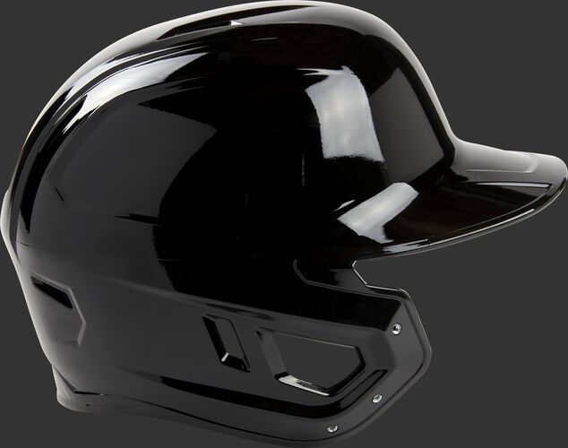 Right side of a black Mach single ear batting helmet with the ear protection for a lefty batter - SKU: MSE01A-LHB