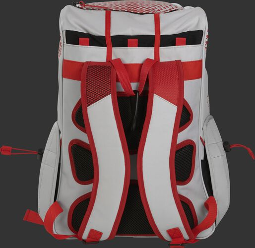 Back of a white/scarlet R800 Rawlings fastpitch backpack with black back padding and white shoulder straps