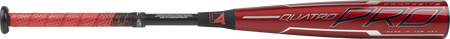 Barrel of a red USZQ10 Rawlings 2020 Quatro Pro -10 USA bat with black/silver accents
