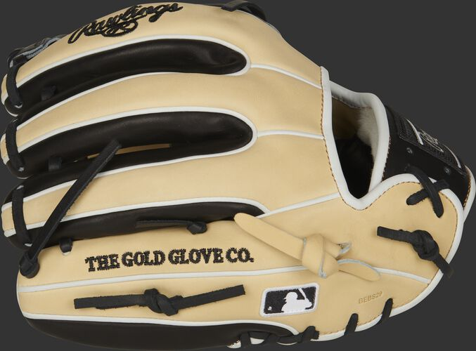Camel/black fingers of a Rawlings Pro Preferred infield glove with the MLB logo on the pinkie - SKU: PROS314-13CBW