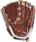 R9SB120-3DB Rawlings 12-inch softball glove with a brown palm and white laces image number null