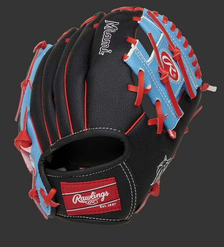 Back of a black/light blue Miami Marlins 10-inch I-web glove with a red Rawlings patch - SKU: 22000016111