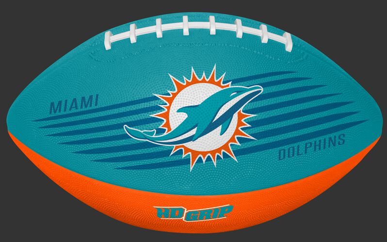 Aqua Green and Orange NFL Miami Dolphins Downfield Youth Football With Team Logo SKU #07731074121