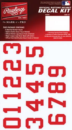 Rawlings MLB Atlanta Braves Decal Kit With Red Numbers SKU #MLBDC-ATL