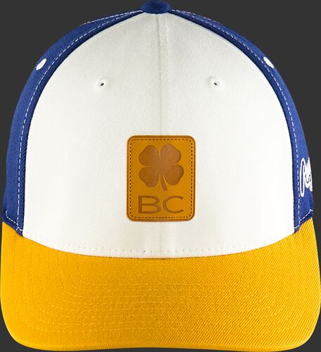 Front of Rawlings White, Yellow, and Blue Black Clover Heart of the Hide Fitted Hat SKU #BC0HOH0071
