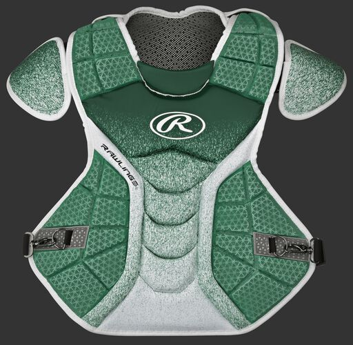 A dark green/white CPVEL Velo series intermediate chest protector