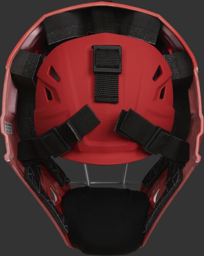 Adjustable back plate of a scarlet CHV27J Velo 2.0 hockey style catcher's mask