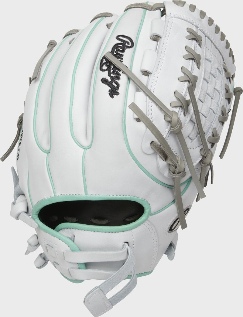 White back of a 2021 HOH 12-Inch softball glove with ocean mint binding/welting and pull strap back - SKU: PRO716SB-18WM