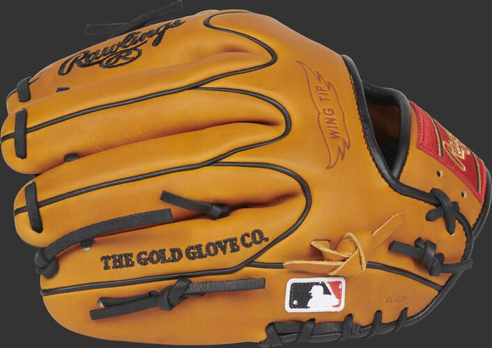 Back of a Horween tan Heart of the Hide infield glove with a MLB logo on the pinkie - SKU: PRO205W-2HTB