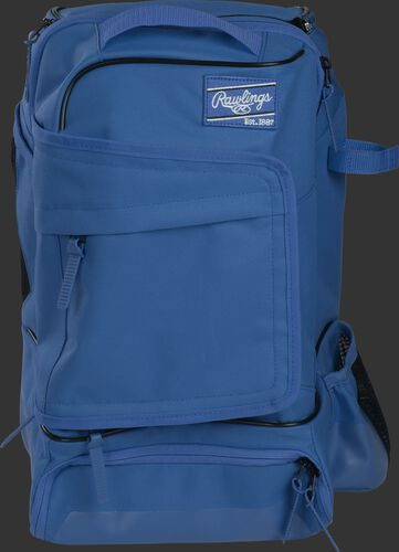 Front of a royal R701 Rawlings training backpack with a locker style front pocket
