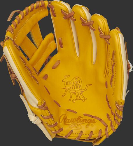 PRONP5-7GT Rawlings Heart of the Hide infield glove with a gold tan palm, gold tan web and tan laces