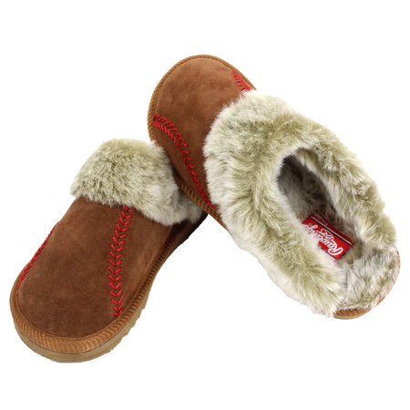 Two RF50006-200 baseball stitch women's sliders with mule cow suede and faux fur lining
