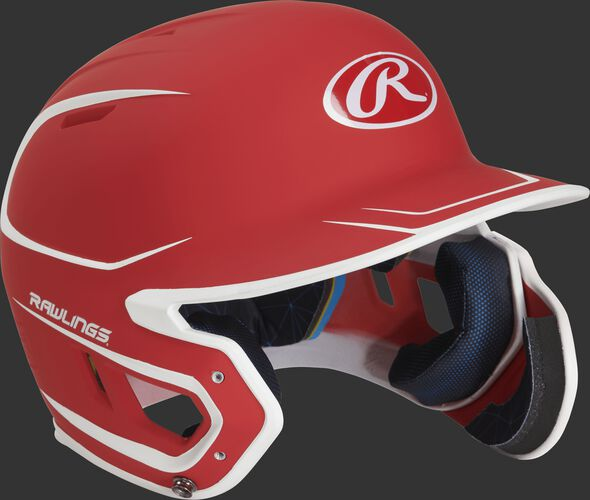 Right angle view of a MACHEXTR Rawlings Mach EXT Senior helmet with a two-tone matte scarlet/white shell