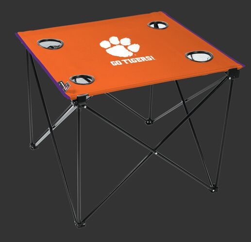 An orange NCAA Clemson Tigers deluxe tailgate table with four cup holders and a team logo printed in the middle SKU #00713010111