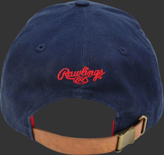 Back of Rawlings Women's Change Up Navy Baseball Stitch Oval-R Logo Hat - SKU #RC40000-400