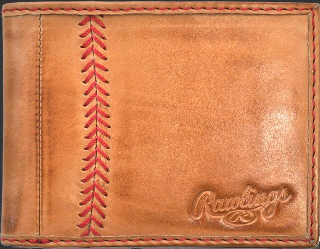 A tan MW485-204 Baseball Stitch bi-fold wallet folded close with red stitching on the left and an embossed Rawlings logo