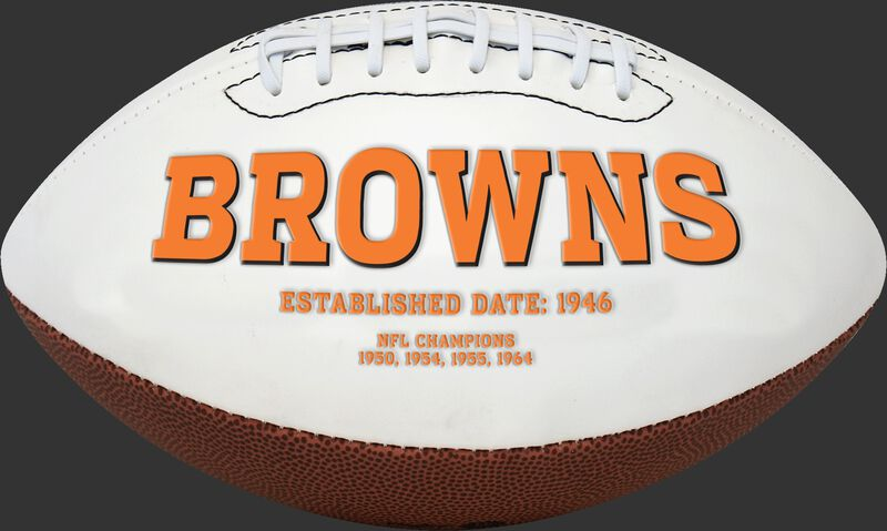 Browns logo on a Cleveland Browns signature football