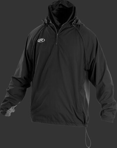 Front of Rawlings Black Adult Long/Short Sleeve Jacket - SKU #TRITHR-DG-91