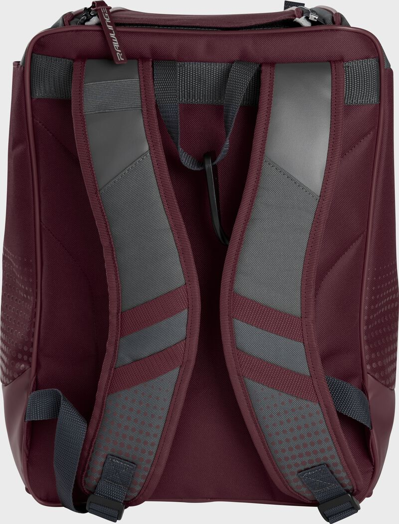 Back of a maroon Rawlings Franchise backpack with gray shoulder straps - SKU: FRANBP-MA