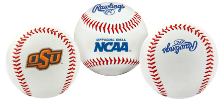 3 views of a NCAA Oklahoma State Cowboys baseball with a team logo, NCAA logo and Rawlings logo