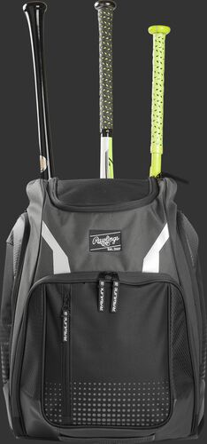 Front view of a gray Rawlings Legion baseball backpack with 3 bats in the back - SKU: LEGION-GR